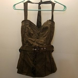 BEBE MOSS GREEN HALTER TOP